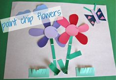 Paint Chip Flowers - No Time For Flash Cards