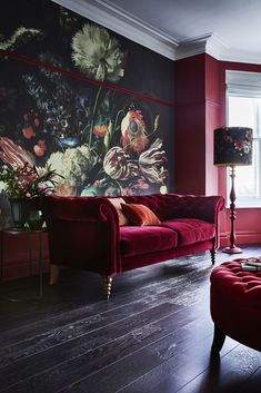 The Ultimate Guide To Wallpaper & Your Homes. That red velvet couch is a napper's dream. Want.