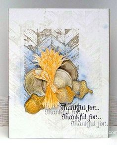 Stampin' Up! ... handmade Thanksgiving card ... collage style with stamping and fussy cut images ... wheat, acorns, tree rounds and wood background ... lovely