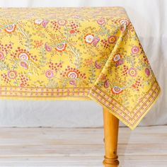 """60"""" Square Juliette Yellow Cotton Tablecloth by CLM Cotton"""
