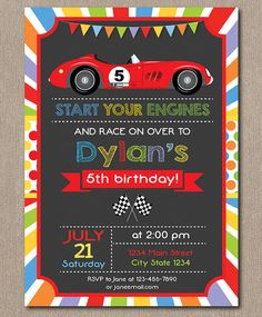 boy birthday invitations red race car chalkboard birthday party
