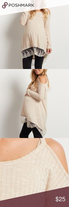 PinkBlush Maternity Cold Shoulder Lace Trim Top Fun, flirty, and feminine, this pretty maternity top is everything a mother needs! Its cold shoulder cut out and lace trim will make you feel beautiful. Wear this top with your favorite maternity jeans and boots for a cute look. 52% Rayon 42% Polyester 6% Spandex A long sleeve cold shoulder maternity top. Lace trim. Rounded neckline. 33 inches from high point of shoulder to hem.  Hand Wash Cold, No Bleach, Hang Dry. Worn once!!! Pinkblush…