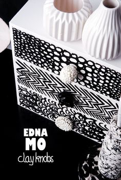 Möbelknopf PFERD Knauf schwarz weiß Keramik