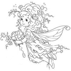 Fairy Coloring, Cute Coloring Pages, Doodle Coloring, Adult Coloring Pages, Coloring Books, Colorful Drawings, Colorful Pictures, Whimsy Stamps, Color Pencil Art