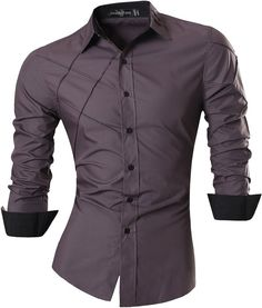 Jeansian Men's Slim Fit Long Sleeves Casual Shirts 2028 Gray S