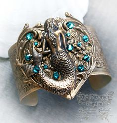 MERSONG Victorian ornate fantasy cuff, mermaid cuff bracelet, steampunk cuff bracelet with antique brass