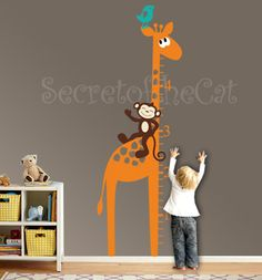 Giraffe growth chart decal  nursery decal  by secretofthecat, $65.00