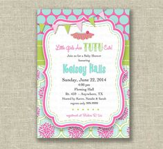 Baby Girl Shower Invitation TuTu Pink Green by girlsatplay on Etsy, $12.00