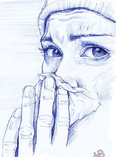 Saatchi Online Artist: HB Graphik; Pen and Ink, Drawing. The facial expression is absolutely beautiful!