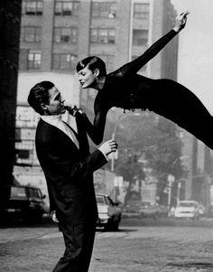 """""""Sheer Nights"""" Linda Evangelista with Hugh Grant by Peter Lindbergh. Harper's Bazaar US November 1992."""