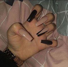 Nail Design Glitter, Cute Acrylic Nail Designs, Long Nail Designs, Nails Design, Acrylic Nails With Design, Black Acrylic Nails, Best Acrylic Nails, Black Coffin Nails, Black Acrylics