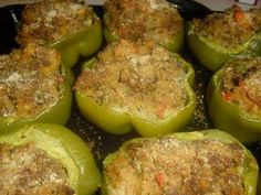 New Orleans Style Stuffed Bell Peppers 6 green Bell Peppers (for stuffing) 2 lbs. lump Crab Meat 2 stalks Celery, chopped 2 Onions, chopped 1 Bell Pe (Garlic Butter For Bread) Creole Recipes, Cajun Recipes, Seafood Recipes, Cooking Recipes, Grilling Recipes, New Orleans Stuffed Bell Peppers, Stuffed Green Peppers, Healthy Stuffed Bell Peppers, Stuffed Pepper Soup