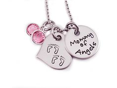 Personalized Mommy of Angels Footprint Necklace  by Stampressions, $28.00