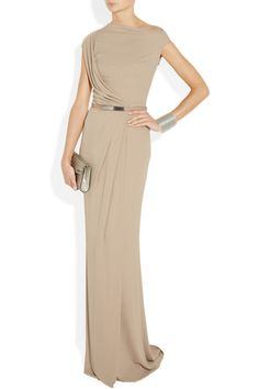 KAUFMANFRANCO|Belted stretch-jersey gown|NET-A-PORTER.COM