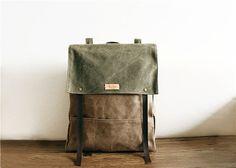 Vaca cuero lona mochila mochila femenina lienzo de por SoBag1989