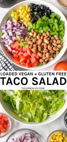 Quick and easy dairy free and gluten free salad recipe with romaine lettuce, tomato, onion, corn, olives, pepper, and beans. Perfect for meal prep! Easy creamy vegan taco salad dressing using plant based yogurt and salsa. #vegan #glutenfree #dairyfree #plantbased #eggfree #salad #tacosalad #bowls #healthy #dressing Dairy Free Salads, Salad Recipes Gluten Free, Gluten Free Tacos, Taco Salad Recipes, Whole Food Recipes, Salads To Go, Easy Salads, Best Salads Ever, Cooking Avocado