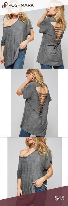 LAST - JILLIAN loose fit distressed top - CHARCOAL Loose fit, short dolman sleeve top with fun cut out design. 96% rayon, 4% spandex. Made in USA Bellanblue Tops