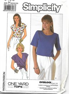 Simplicity 9165 Misses One-Yard Tops, Front Wrap and Overlap, size 6-10, UNCUT by DawnsDesignBoutique on Etsy