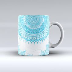 Bright Blue Circle Mandala v3 Ink Fuzed Ceramic Coffee Mug or Tea Cup ($14) ❤ liked on Polyvore featuring home, kitchen & dining, drinkware, drink & barware, home & living, light blue, mugs, coffee tea mugs, ceramic coffee mugs and handmade coffee mugs
