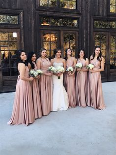 Elegant blush mix-matched bridesmaid dresses for 2020 Infinity Dress Bridesmaid, Bridesmaid Saree, Blush Bridesmaid Dresses, Bridesmaids And Groomsmen, Bridal Wedding Dresses, Wedding Bridesmaids, Blush Flower Girl Dresses, Mermaid Dresses, Dream Wedding