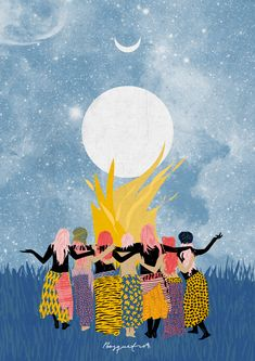 The mystical and vibrant drawings of visual artist Ignacia Ossandón – alias Bosquetro – offers us to meet women dancing cheerfully under the stars. Art Et Illustration, Illustrations, Art Inspo, Circle Drawing, Dancing In The Moonlight, Witch Art, Feminist Art, Moon Art, Wicca