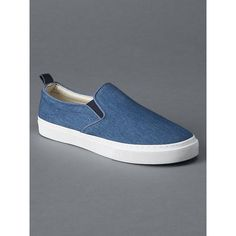Gap Women Fabric Slip On Sneakers (128.195 COP) ❤ liked on Polyvore featuring shoes, sneakers, regular, washed denim blue, round cap, pull on shoes, elastic shoes, slipon shoes and blue shoes
