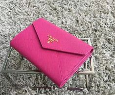 Latest Prada Saffiano Letter leather wallet Peony pink