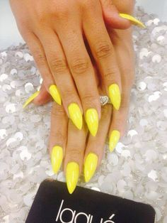 Neon Yellow manicure nail art