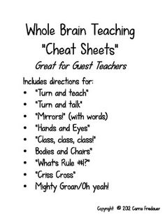 "Whole Brain Teaching ""Cheat Sheet"". Includes explanation of the different Whole Brain Teaching strategies that we saw in our course videos. Organization And Management, Behavior Management, Classroom Organization, Classroom Management, Classroom Behavior, Kindergarten Classroom, School Classroom, Classroom Decor, Teacher Tools"