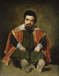 <바닥에 앉은 난쟁이> 벨라스케스 1645  스페인 궁에 사는 난쟁이에 대한 그림이다. 살아있는 장난감으로 여겨졌던 난쟁이지만 벨라스케스는 그들을 조롱하거나 희화화하지도 않았고, 변태적인 쾌락을 곁들이거나 감상적으로 연민을 보태 묘사하지도 않았다. 그는 침착하고 정직하게 난쟁이를 묘사하고 있다. 왕족들을 즐겁게 해주기 위해 궁에 살던 난쟁이 중 한 명이다. 다른 작품을 보면 난쟁이들은 왕족들을 돋보이게 해주는 장치로 사용되지만 이 작품에서 벨라스케스는 있는 그대로의 난쟁이를 보여주고 있다. 이 난쟁이의 표정은 전혀 우습지 않고 매우 진지하고 날카로운 눈빛을 가지고 있다. 단순히 장난감이 아니라 자신도 생각을 가진 인격체라는 말을 하고 있는 듯 하다.