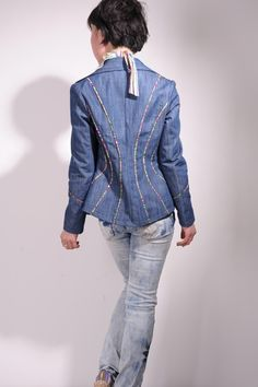 Floral Cotton Defined Waist Blue Denim Blazer Free by yystudio, $199.80