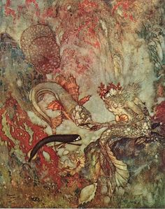The Merman King — Edmund Dulac illustration from The Little Mermaid