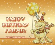Happy Birthday Kitten Friend Friends Gif Greetings Balloons