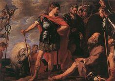 알렉산더 대왕과 디오게네스 - 작자 미상(연도 미상) 디오게네스는 철저한 무욕의 삶을 추구했던 그리스의 유명한 철학자였다. 알렉산더 대왕은 그에게 흥미를 가졌고 어느 날 그를 찾아갔다. 대왕은 그에게 필요한 것이 무엇이냐고 물었고 그는 대왕이 지금 해를 가리고 있으니 비켜달라고 말했다고 한다. 이는 알렉산더 대왕과 디오게네스의 삶의 방식의 차이를 단적으로 보여주는 일화이다. 이 그림은 소유의 삶을 추구하는 화려한 옷에 당당한 포즈를 취한 알렉산더 대왕과 무소유의 삶을 추구하는 남루한 옷에 왕 앞에서도 앉아 있는 디오게네스를 대조적으로 보여준다.