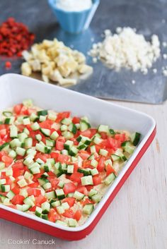 Healthy Mediterranean 7-Layer Dip Recipe | #vegetarian #superbowl #appetizer #cleaneating