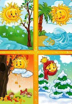 TOUCH esta imagen: Seizoenen by Wampie Weather For Kids, Preschool Weather, Seasons Activities, Preschool Activities, Teaching Kids, Kids Learning, Four Seasons Art, Art For Kids, Crafts For Kids
