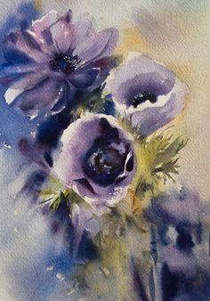 Aquarelle originale danémones violettes aquarelle Floral Art