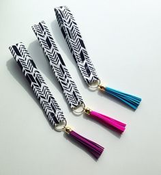 FREE SHIPPING  Black and white key wristlet arrows by PDPStudio