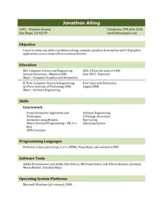 resume template for it graduate