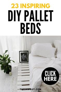 Looking for pallet bed ideas? Check out our list of 23 inspiring pallet beds for the perfect DIY bedroom makeover project after the jump. #thesawguy #diybed #palletbed #bedideas #bedroomideas #bedroommakeover