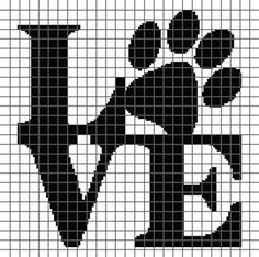Embroidery Alphabets Bracelets Dog Love (Graph AND Row-by-Row Written Crochet Instructions) – 06 - This crochet graphghan pattern is 135 x 134 squares and comes with the written row-by-row instructions as well as the graph. Cross Stitching, Cross Stitch Embroidery, Embroidery Patterns, Graph Crochet, Crochet Stitches, Filet Crochet, Cross Stitch Designs, Cross Stitch Patterns, Crochet Squares Afghan