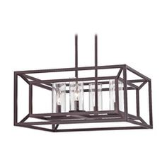Harmony Bronze Island Light with Square Cage Shade