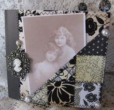 Jessica Rodarte: vintage inspired, black and white paper bag scrapbook album