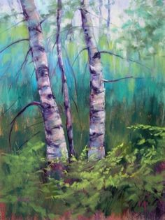 Summer Woods...Birch Trees, painting by artist Karen Margulis