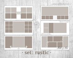 Wedding storyboard collage templates, Photo Collage Template, 10x20 Rustic set Storyboard for photographers • SET: Rustic • SIZE: 10 x 20 • RESOLUTION: 300dpi • THEMES: 6 templates ✓ These are .PSD files with clipping masks for unlimited customizations, including color changes. Easily and quickly create a layout for you or your client. Can be resized. ✓ Templates works in Photoshop and Photoshop Elements. ✓ You will receive the template instantly through an Etsy direct download! ✽ Fonts…