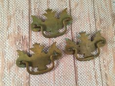 3 Vintage Brass Furniture Pulls Holes 3 by SalvageArtsCreations