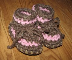 Crocheted Toddler Slipper with Leather and Sheepskin Sole.