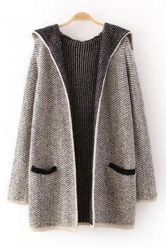 Grey Long Sleeves Hoodie Cardigan Sweater