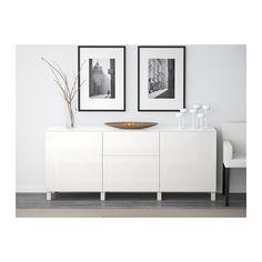 BESTÅ Aufbewkomb.+Türen/Schubladen - weiß/Selsviken Hochglanz/weiß, Schubladenschiene, sanft schließend - IKEA