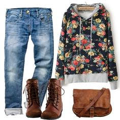 Cute jeans, floral top, brown boots